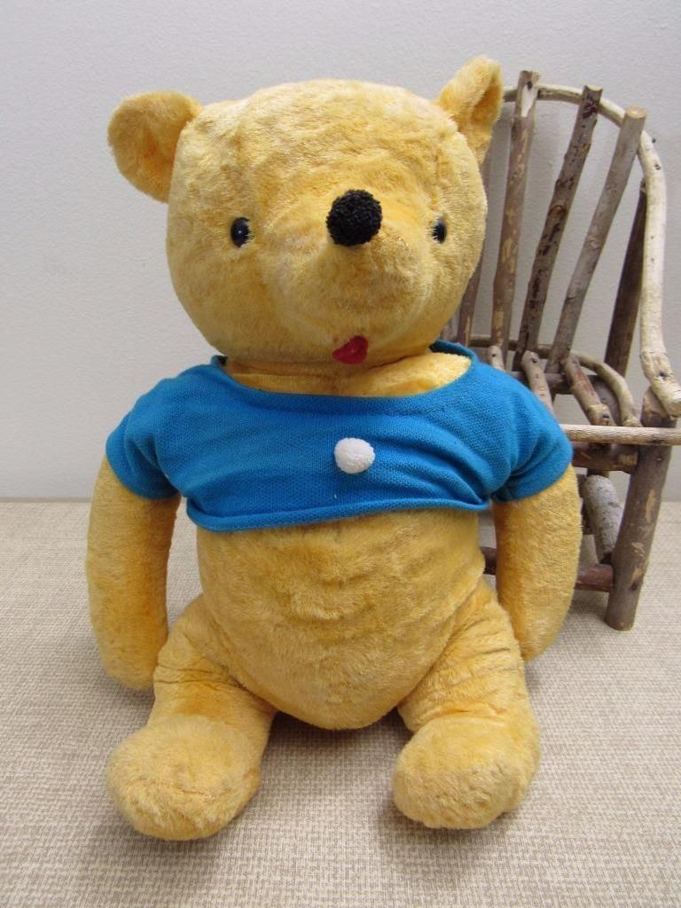 Rare Vintage Classic Winnie The Pooh Knickerbocker Teddy Bear Blue