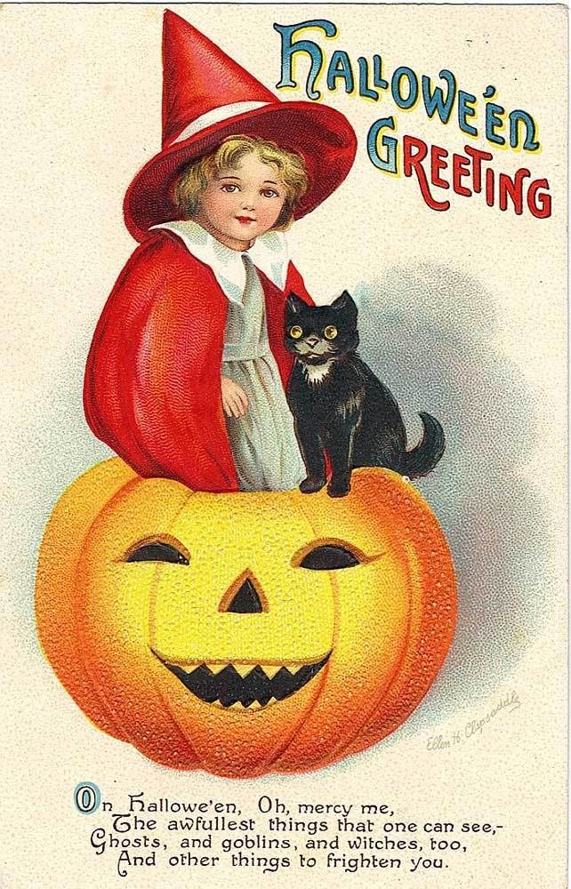 Halloween Clapsaddle Witch Girl with Black Cat H13 eBay - vintage halloween decorations ebay