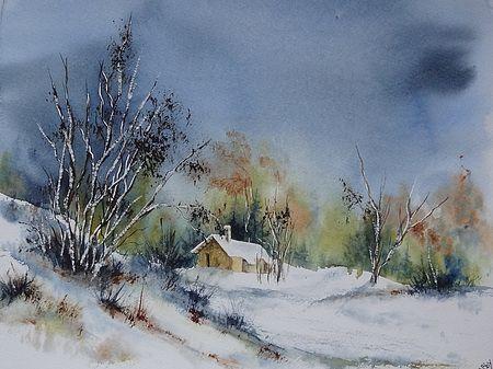 Watercolor Aquarelle Vosges Sous La Neige Avec Images