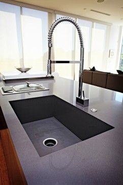 Caesarstone Quartz Concrete Countertop Integrated Sink Contemporary Kitchen Concrete Countertop Design Modern Kitchen Sinks Contemporary Kitchen