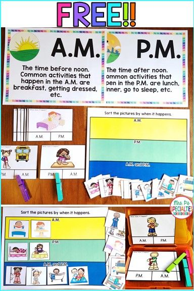Am Or Pm Task Card And Sort Freebie Teaching Special Education Special Education Elementary Life Skills Classroom