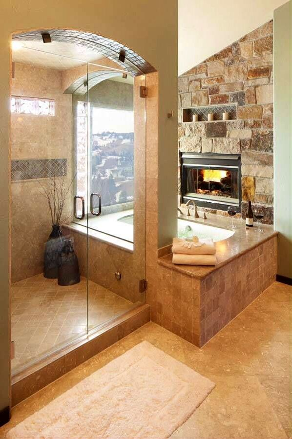I LOVE this bathroom. The idea of having the shower next to the tub ...