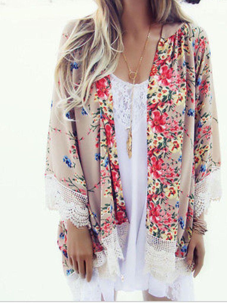 Floral Lace Kimono | Lace kimono, Floral lace and Kimonos