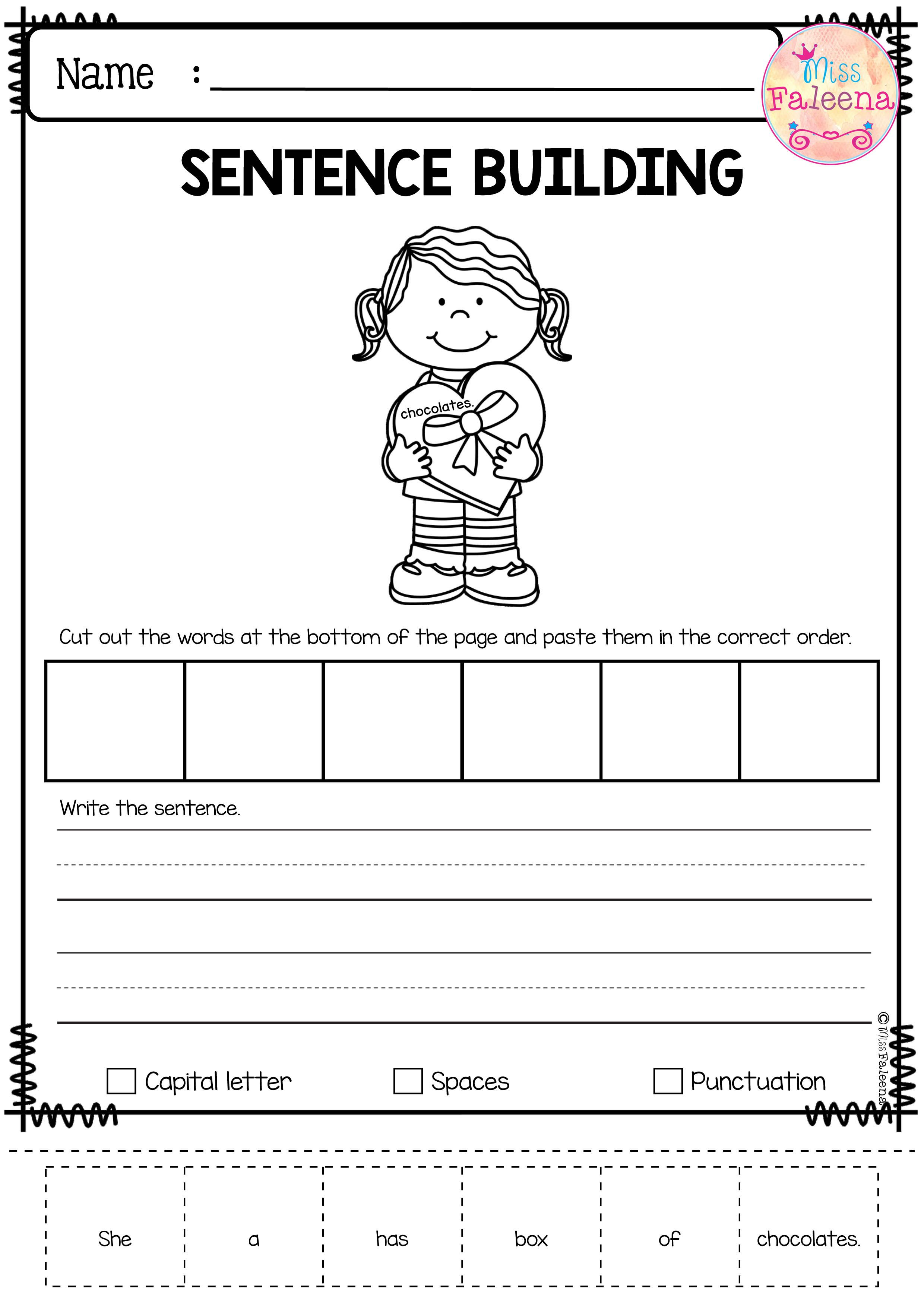 February Sentence Building Has 30 Pages Of Sentence Building Worksheets This Produc Sentence Building Kindergarten Worksheets Kindergarten Addition Worksheets Create kindergarten writing worksheets