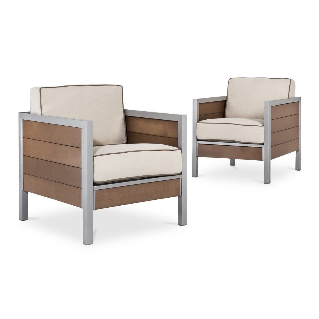 Threshold  Bryant 2 Piece Faux Wood Oversized Patio Club Chair Set