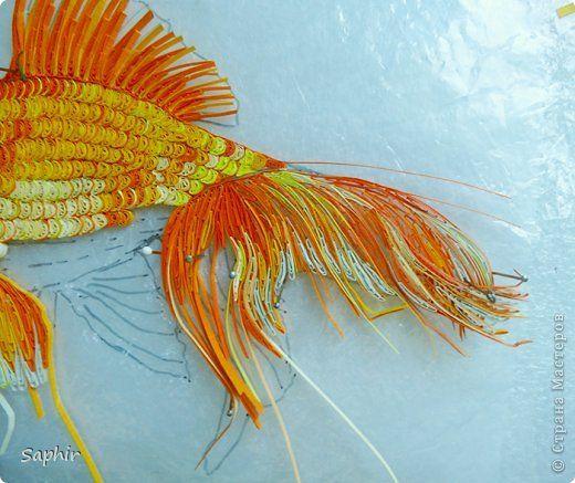Золотая рыбка. фото 7 | Квиллинг, Брошь, Золотая рыбка