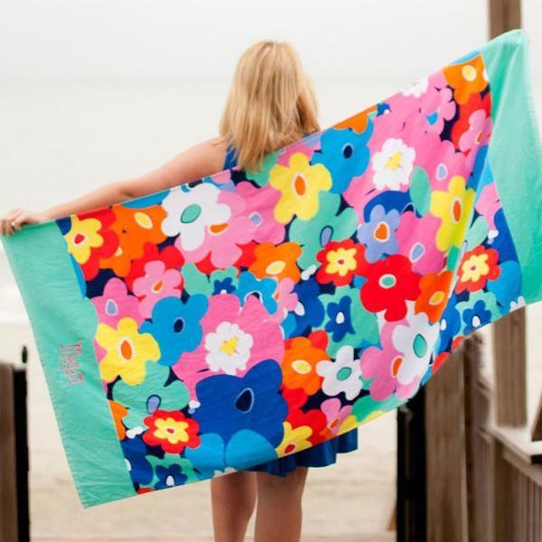 Personalized Beach Towels Flamingo Stripe Monogrammed Beach