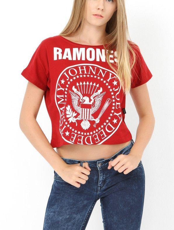 RAMONES RED GIRLS MUSIC CROP TOP