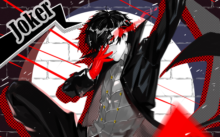 Download Wallpapers Joker 4k Protagonist Persona 5 Megami Tensei Besthqwallpapers Com Persona 5 Joker Persona 5 Persona