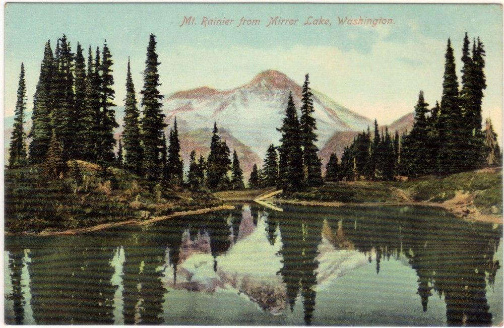 Vintage Washington State Postcard - Mt. Rainier from Mirror Lake (Unused).  via Etsy.