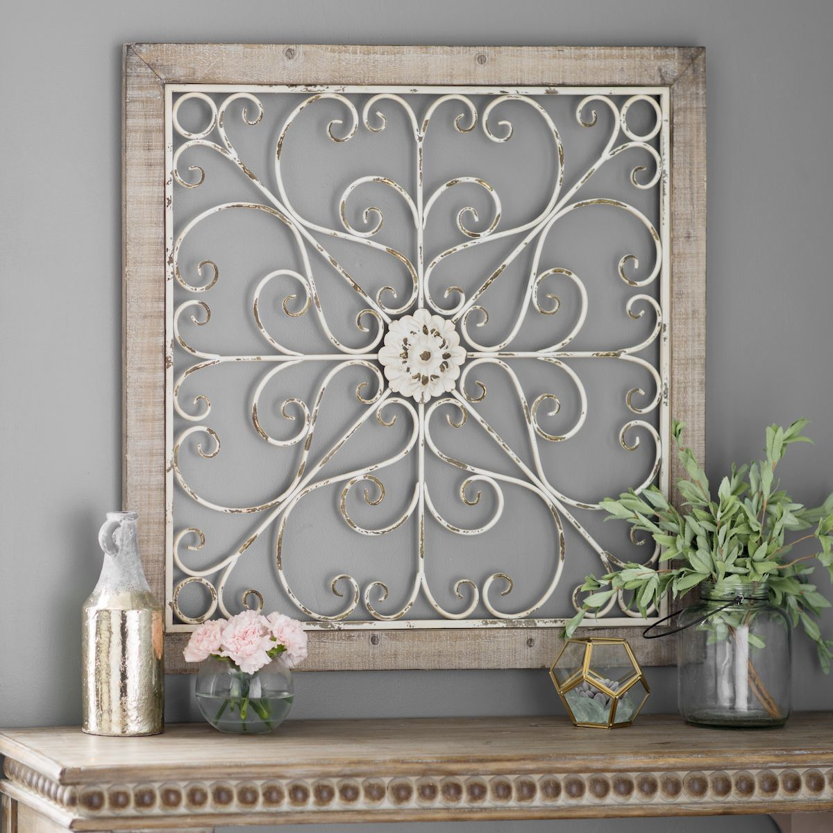 Wood And Metal Wall Plaque Daphne Ornate Scroll Wood And Metal Wall Plaque  Metals Walls