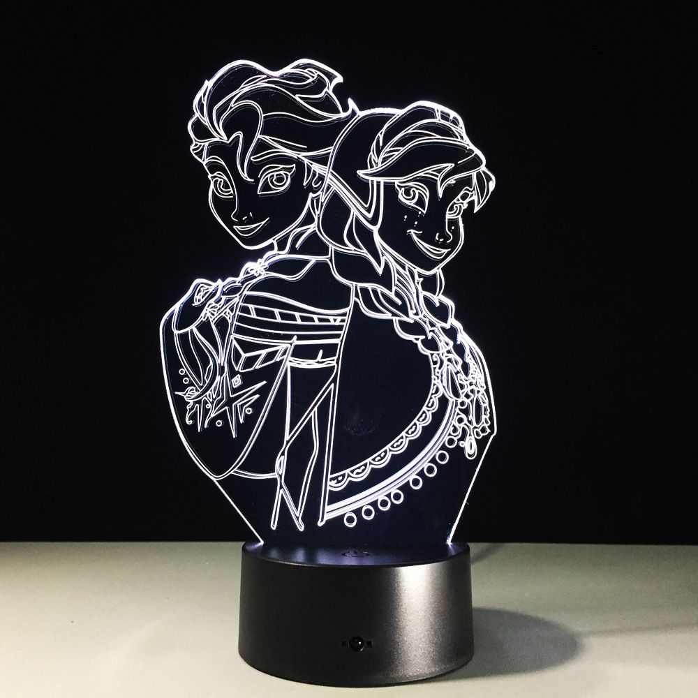 Frozen 3d Lamp Girl Nightlight Led Color Night Light Lamp
