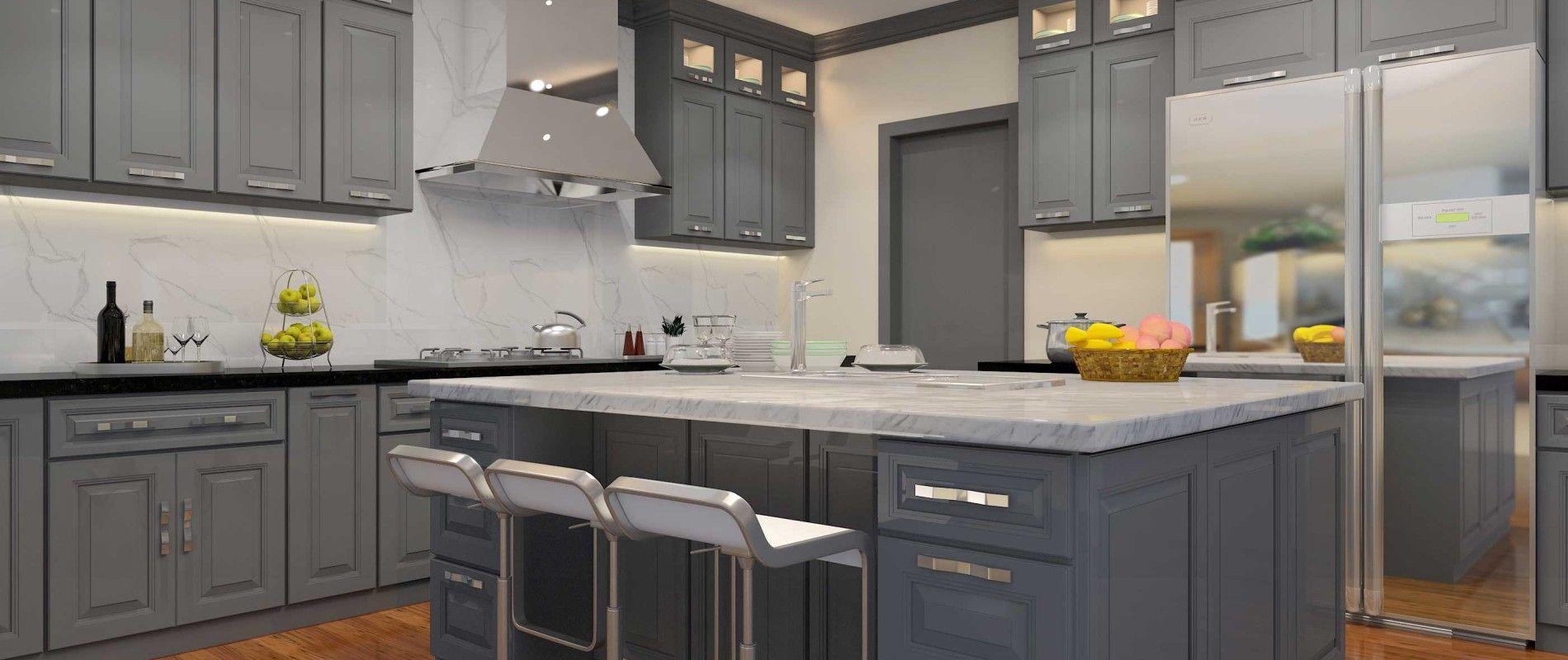 Belmont Gibraltar Gray1 Grey Painted Kitchen Kitchen Cabinets Painted Grey Assembled Kitchen Cabinets