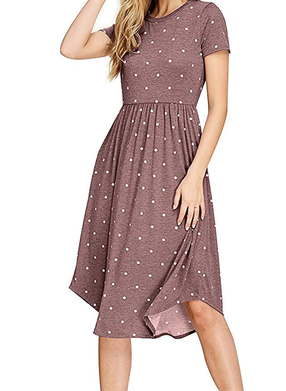 Fantaist Women S 3 4 Sleeve Elastic Waist Casual Swing Midi Dress With Pocket Midi Dress Casual Midi Swing Dress Modest Dresses [ 1500 x 1100 Pixel ]