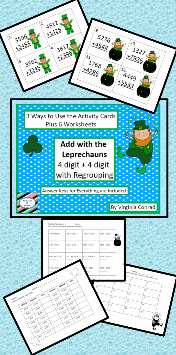 Adding Two 4 Digit Numbers with Regrouping--St. Patrick\'s Day Theme ...