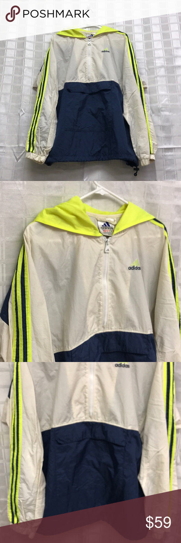 Vintage Adidas Half Zip Pullover Xl neon yellow navy white
