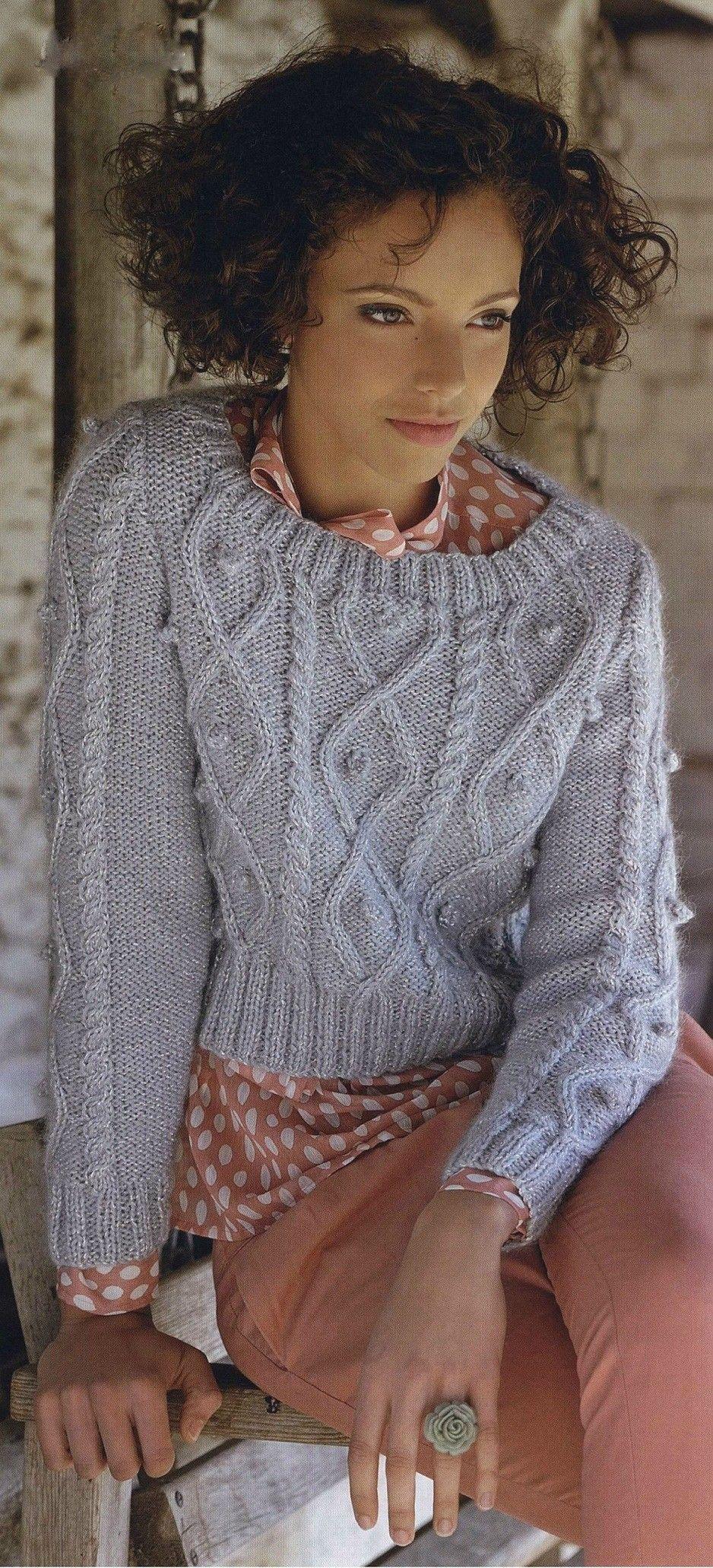 Grey aran sweater http://klubok.kg7.ru/1/3/4213/ | Knitting | Pinterest