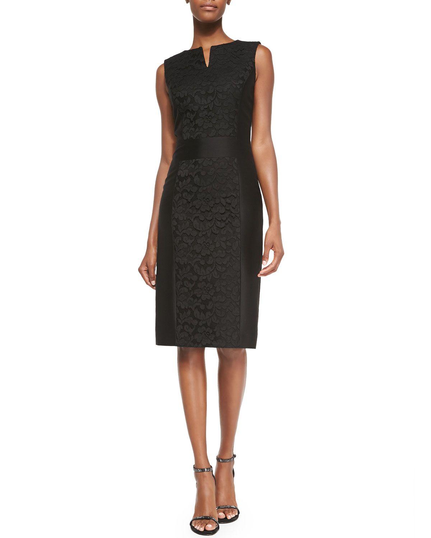 Fl Lace Accent Sheath Dress Black Size 14 Carolina Herrera