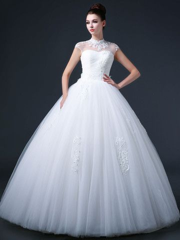 Lace Princess Debutante Ball Gown Wedding Dress with Mandarin Collar and Keyhole Back CC3008
