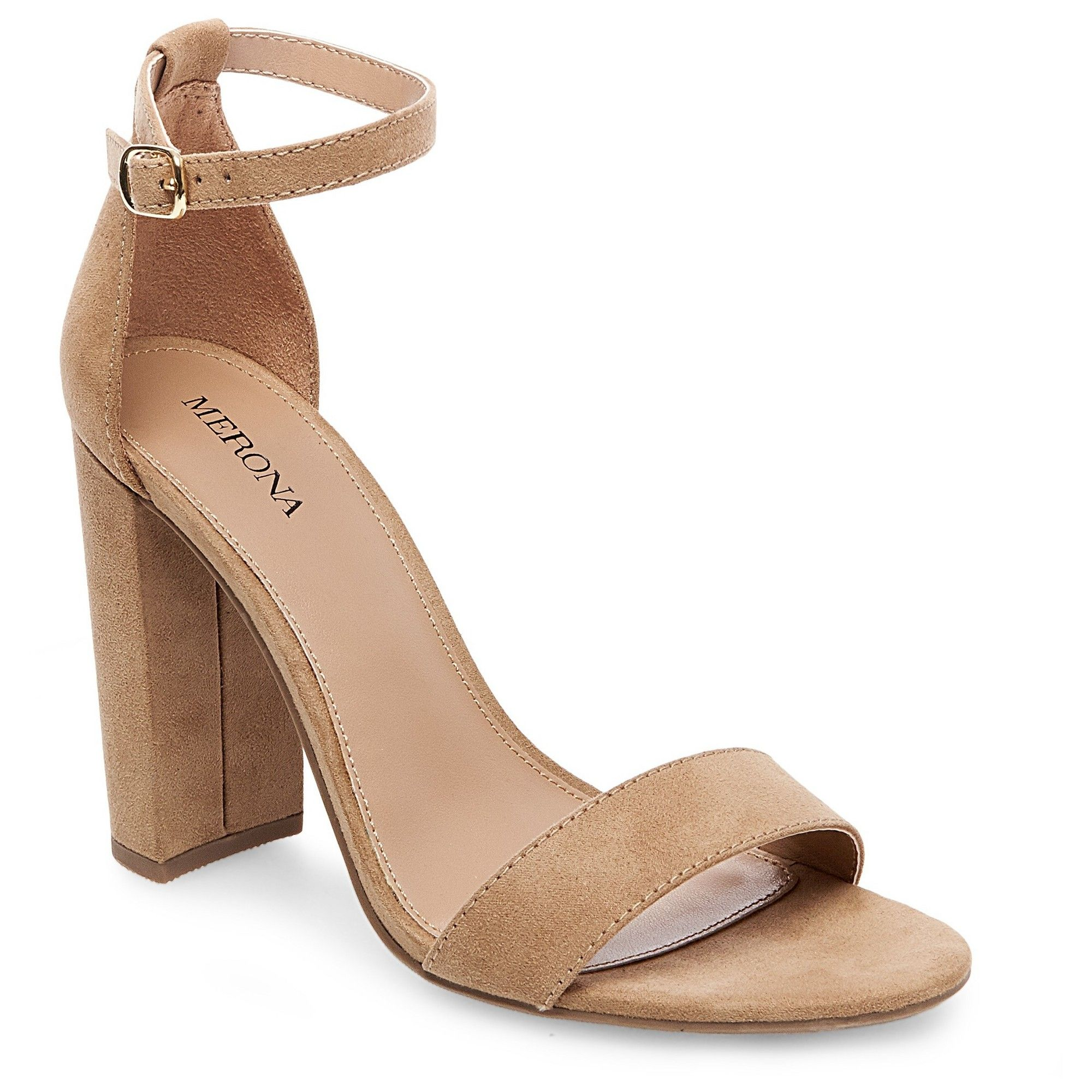 ed2d401d7ae Women s Lulu Wide Width High Block Heel Sandal Pumps with Ankle Straps - Merona  Taupe (Brown) 10