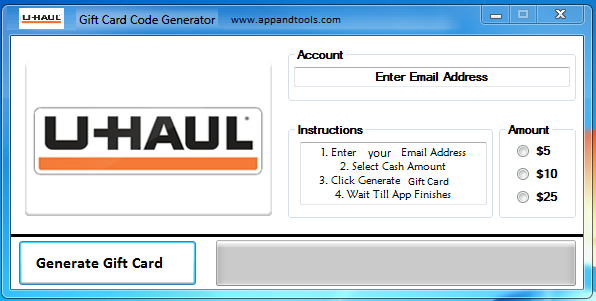 U-Haul Gift Card Generator   Gift Cards   Pinterest   Generators