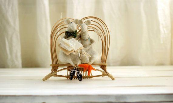 White Family Mice  Needle Felted  Art Doll by FeltArtByMariana, $180.00