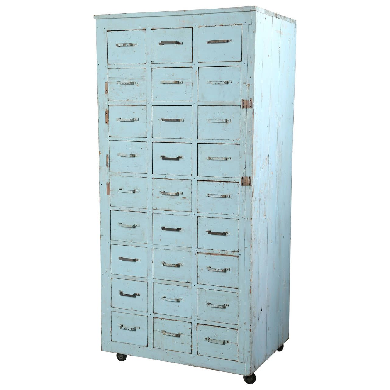 Antique Storage Cabinets Vintage Multi Drawer Wooden Storage Rolling Apothecary Distressed