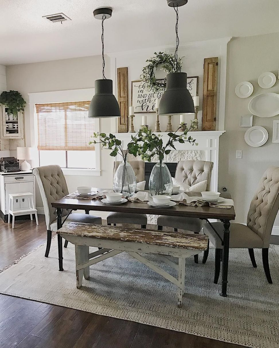 Country Dining Room Decorating Ideas: Modern Farmhouse Dining Room Decorating Ideas 23