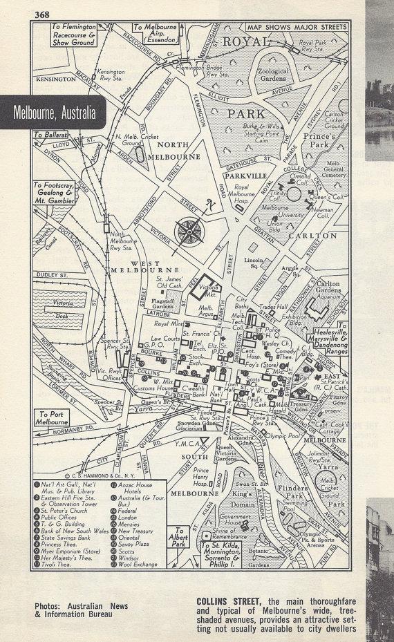 Melbourne Australia City Map.Melbourne Australia Map City Map Street Map 1950s Black And