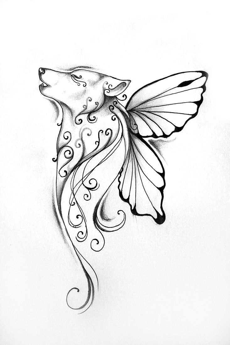 Butterfly wolf tattoo love this my body is my canvas