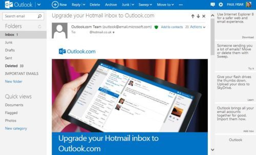 Clean, new email inbox layout and FREE use of Microsoft office Apps - free spreadsheet application for windows 10