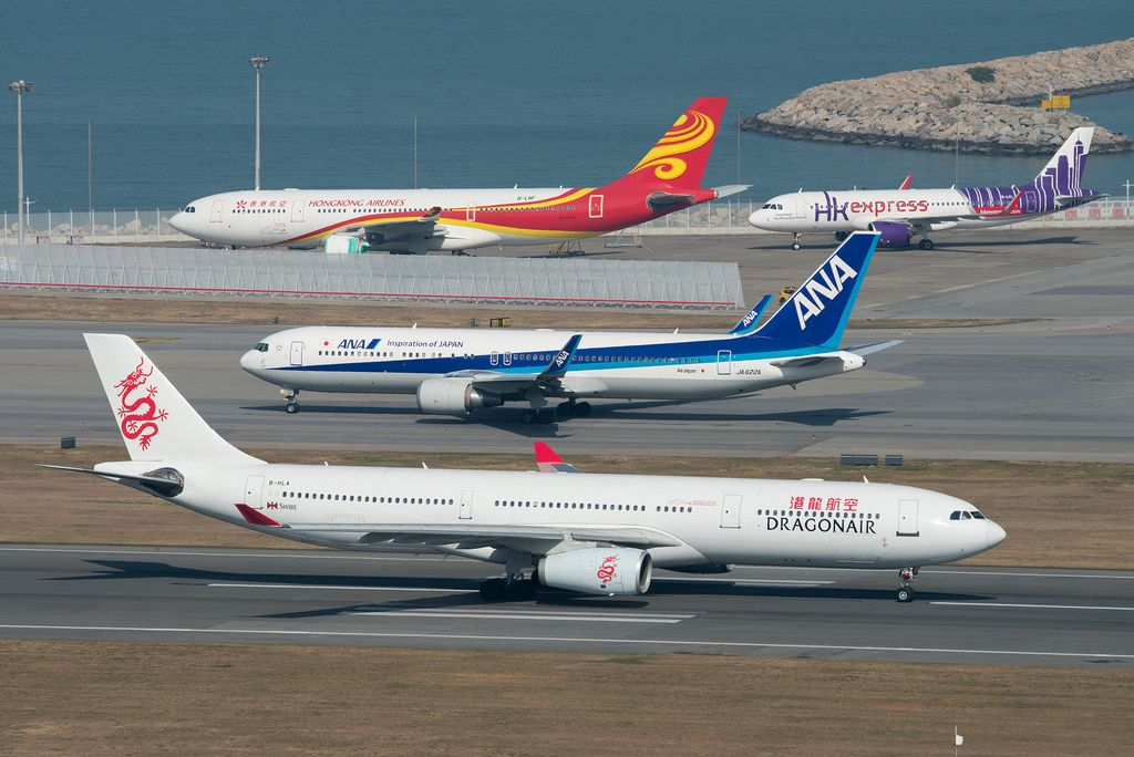 Busy morning at HKG | Hong kong airlines and Aviation