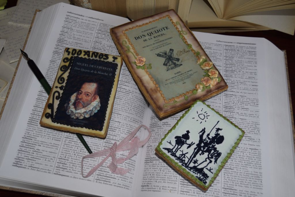IV centenario Cervantes. Galletas decoradas. cookies. Glase real. Royal icing. Rosa María Escribano.