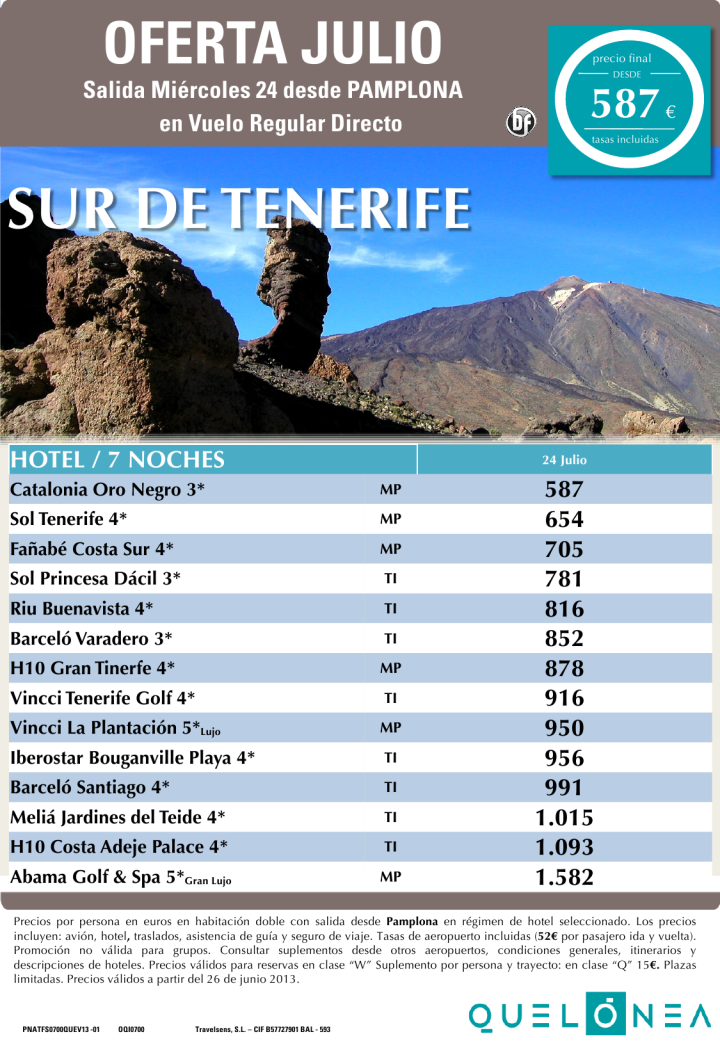 Oferta Julio Tenerife Sur desde 587 euros salidas desde PNA 24 de julio - http://zocotours.com/oferta-julio-tenerife-sur-desde-587-euros-salidas-desde-pna-24-de-julio/