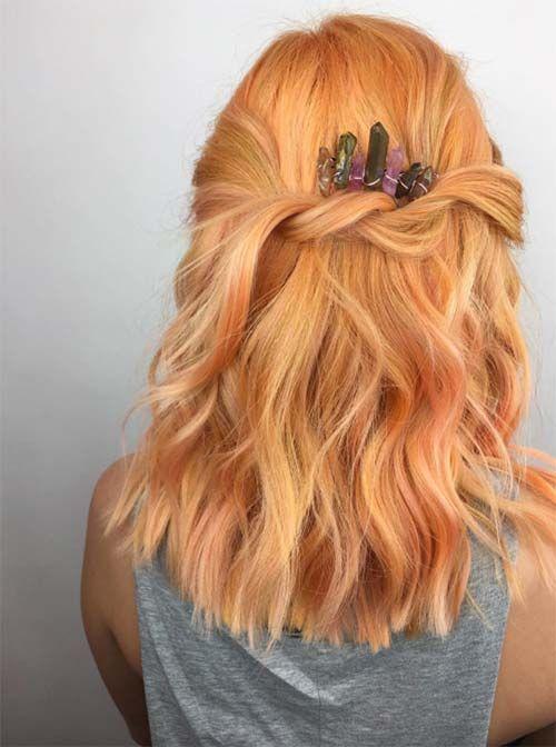 26 Pretty Peach Haarfarbe Ideen: Wie Sie Ihre Haare Pfirsich färben - Neueste frisuren | bob frisuren | frisuren 2018 - neueste frisuren 2018 - haar modelle 2018 #peachideas