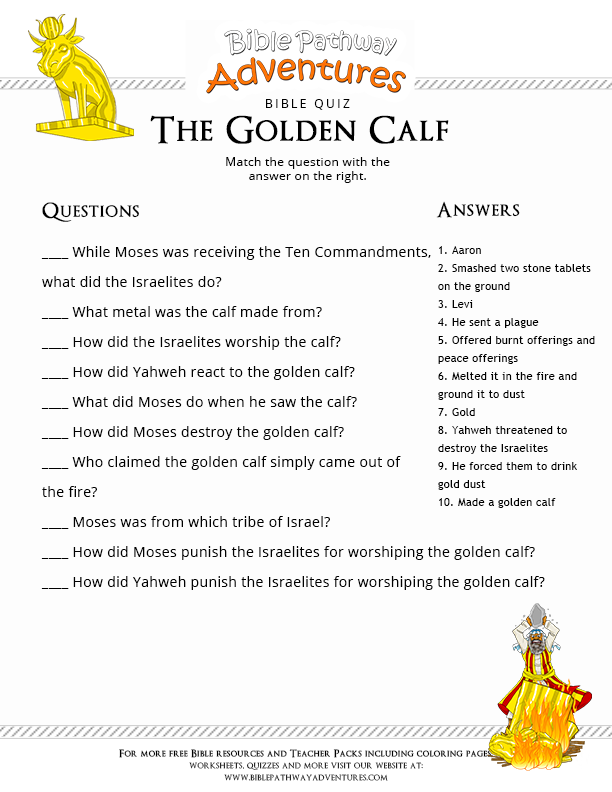 Enjoy Our Free Bible Quiz The Golden Calf Fun For Kids To Print And
