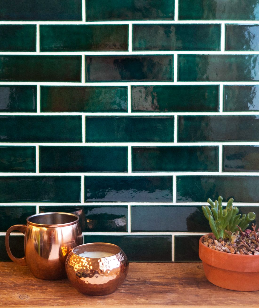 Green With Envy: 3 Kitchens That Pair Green Tile & Copper Accents ...
