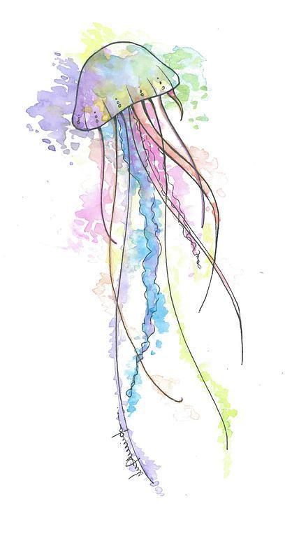 Jellyfish Watercolor This Is Cool Wonder If I Can Use