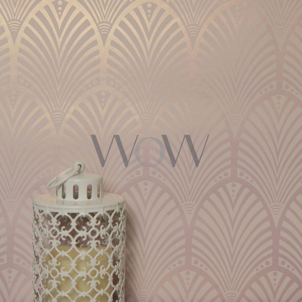 Best Gatsby Art Deco Wallpaper Dusky Pink Holden Decor 400 x 300