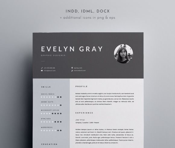 3 Page Resume Template INDD + DOCX Template, Simple resume - resume template docx