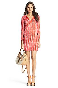 New Reina Two Silk Jersey Tunic Dress in Bamboo Large Chile