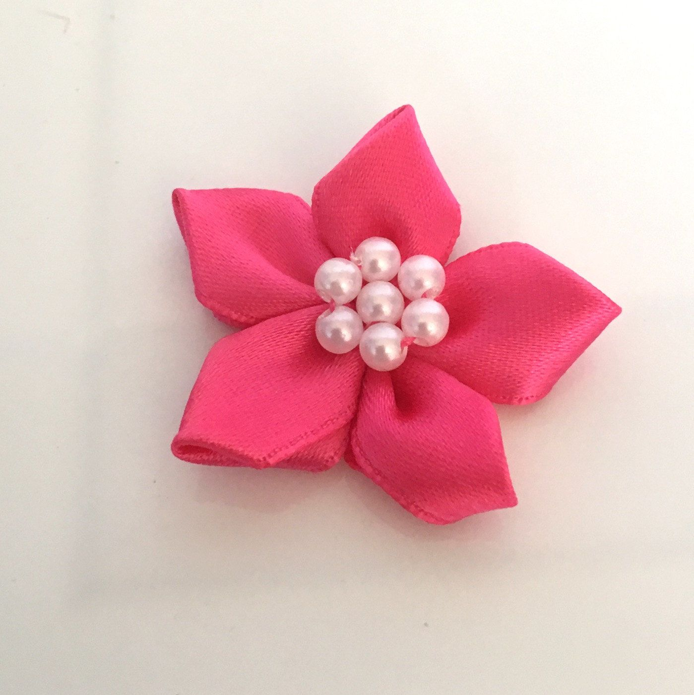 10 Satin Ribbon Flowers Pearl Ribbon Flowers Hot Pink Ribbon