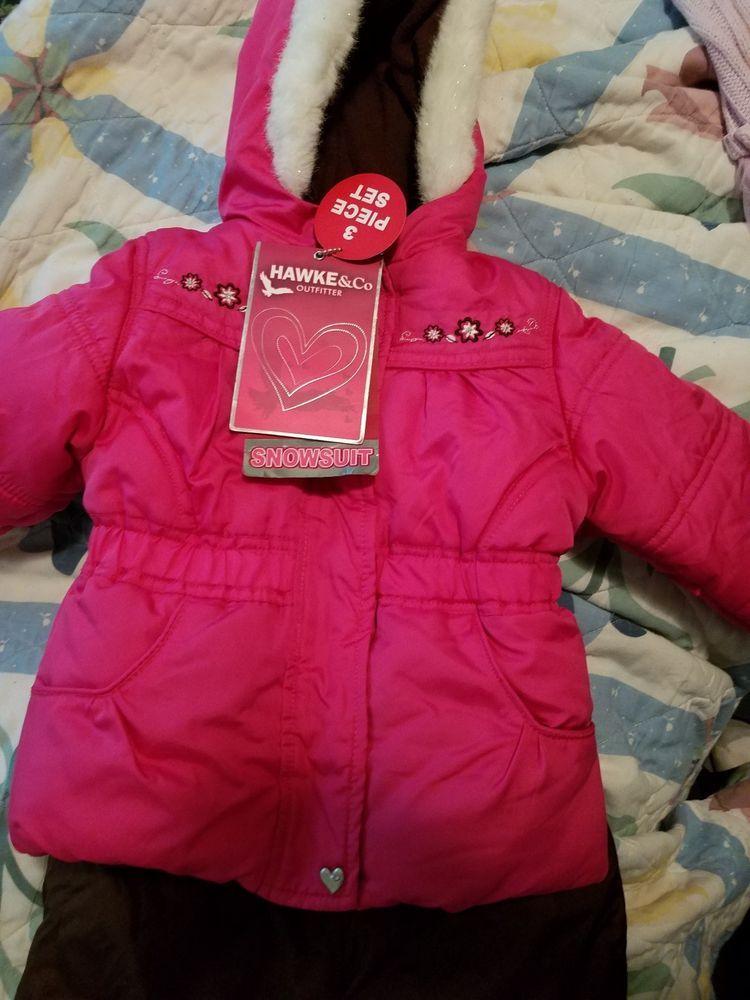 c9aef7dd2ae3 Girls Hawke   Co Winter Snow Suit Coat Jacket Bibs Snow Pants 2 Pc ...