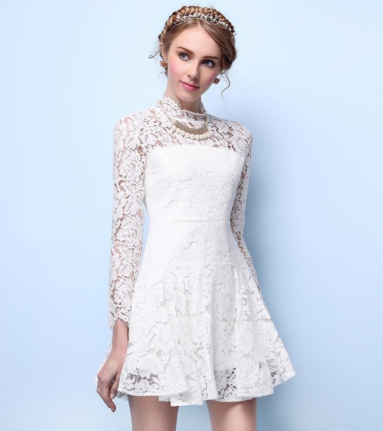 Morpheus Boutique  - White Lace See Through Long Sleeve Sexy Flare Dress, CA$104.71 (http://www.morpheusboutique.com/new-arrivals/white-lace-see-through-long-sleeve-sexy-flare-dress/)