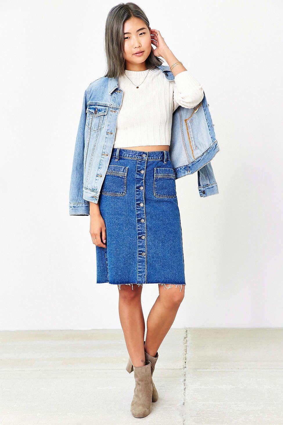 6a1e944de37 BDG Button-Front Denim Pencil Skirt - Urban Outfitters