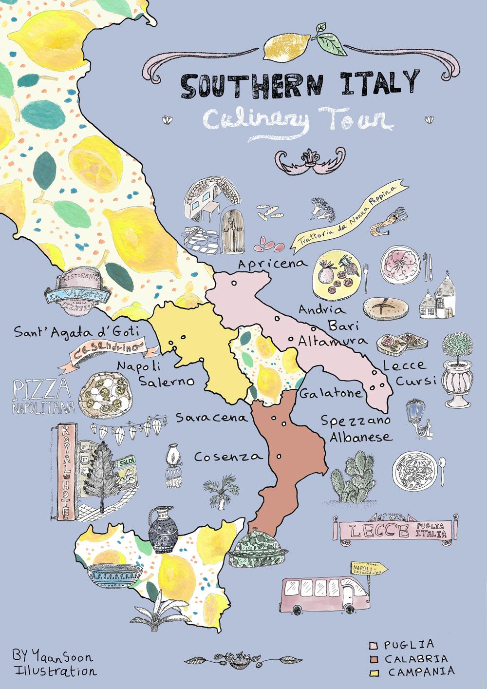 Italy culinary tour southern italy illustrated map illustrated check out this southern italy illustrated map by mediterranean illustrator yaansoon featuring exciting italian culinary gumiabroncs Image collections