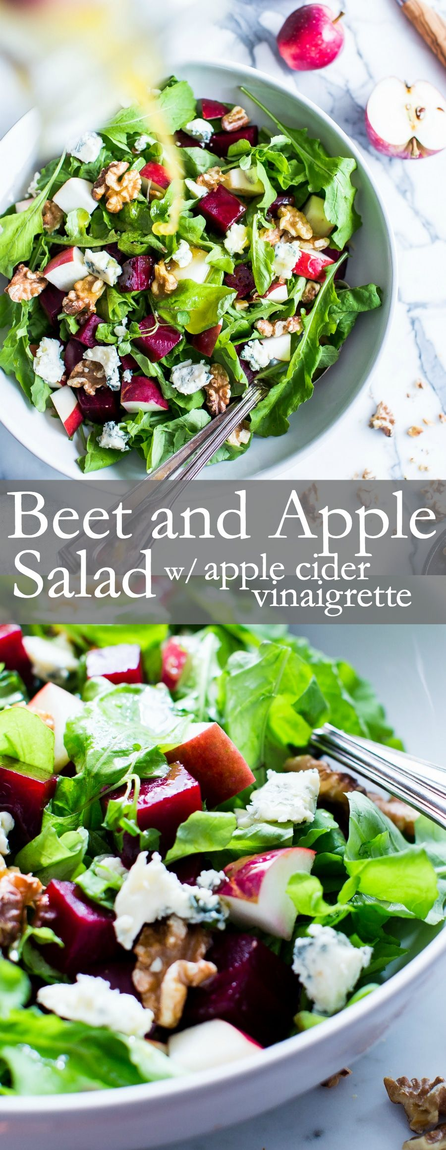Nourishing fall flavors come together in this simple yet flavor packed salad. With a snappy dressing, Beet and Apple Salad with Apple Cider Vinaigrette is versatile enough to pull together with your favorite greens. | #VegetarianSalad #Vegan Option #GlutenFree #soupandsalad