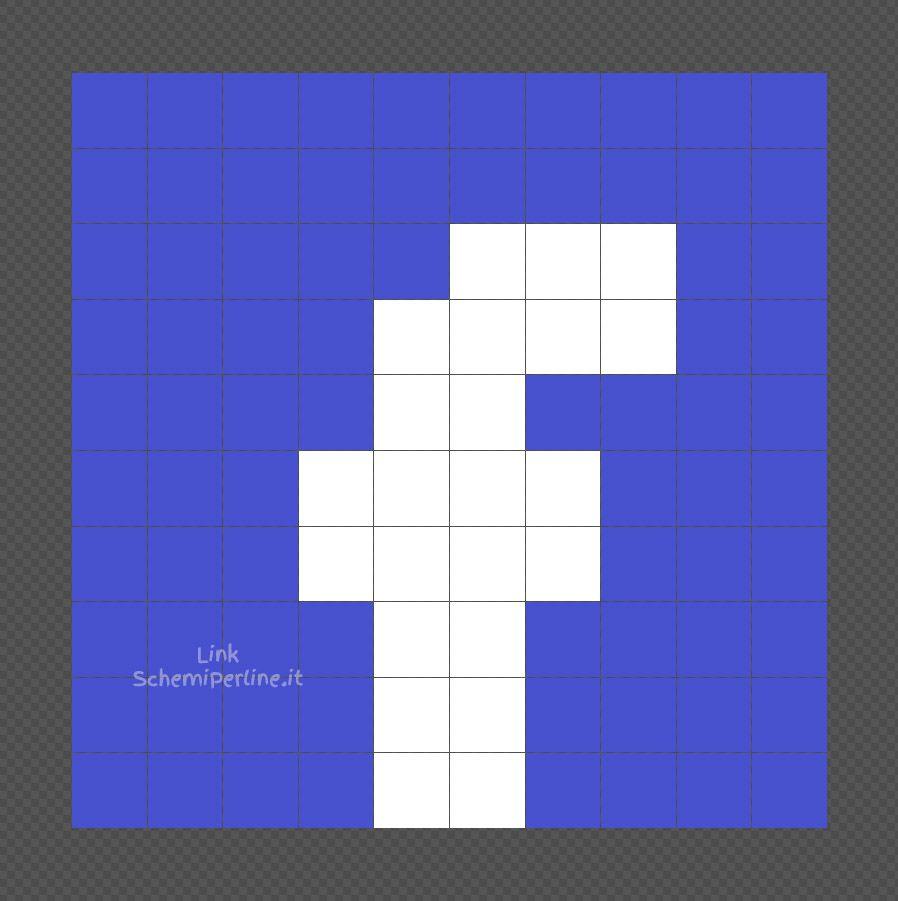 Il Logo Di Facebook Schema Coding Pyssla Facile 10x10 Schemiperline It Minecraft Pixel Art Schema Pixel Art
