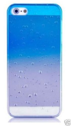 Optimaler Schutz in tollem design !  iPhone 5 5S High Quality 3D Ultra dünnes Hard Case Cover Regentropfen blau