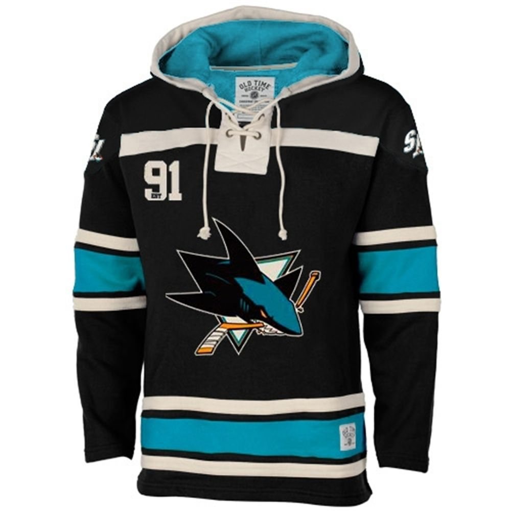30509ee469 Men s San Jose Sharks Old Time Hockey Black Home Lace Heavyweight Hoodie